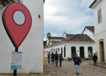 Totens com informações turísticas lançado na Festa Literária Internacional de Paraty (Flip), faz parte do projeto App Paraty: cultura e natureza – Paraty na palma da sua mão (Tânia Rêgo/Agência Brasil)