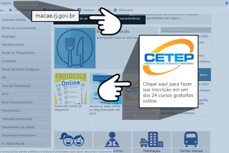 Capa do site do Cetep - Macaé-RJ