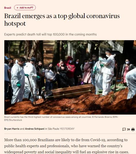 Covid-19 no Brasil - Financial Times