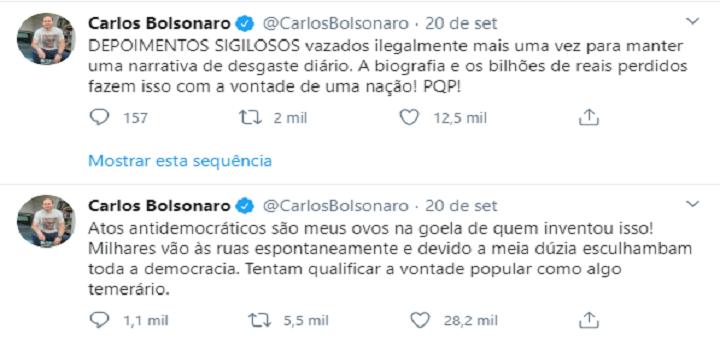 """""""Atos antidemocráticos são meus ovos"""",diz Carlos Bolsonaro sobre depoimento à PF"""