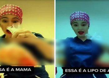 Caren Trisoglio Garcia, que atende em Ribeirão Preto (SP), após a médica compartilhar na internet vídeos que mostram pedaços de pele e sacos plásticos com gordura humana.