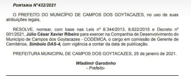 Nomeação de Julio Jubiraca, em Campos-RJ