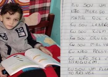 Polícia Civil encontrou nesta terça-feira (3) um caderno do menino Miguel dos Santos Rodrigues, de 7 anos