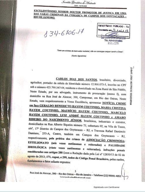 Notícia-crime contra donos da Usina Paraíso S.A.