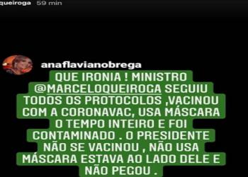 Storie no Instagram do ministro da Saúde, Marcelo Queiroga (Foto: Reprodução)